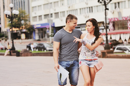 Young couple travel together, having vacation.