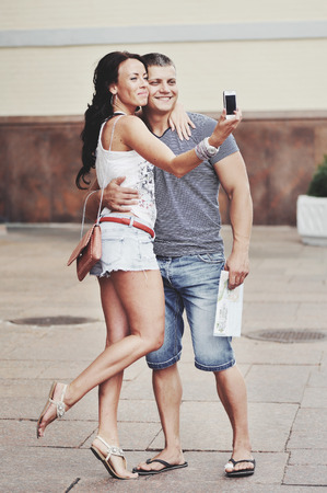 selfy: Young couple travel and making selfy together, having vacation.