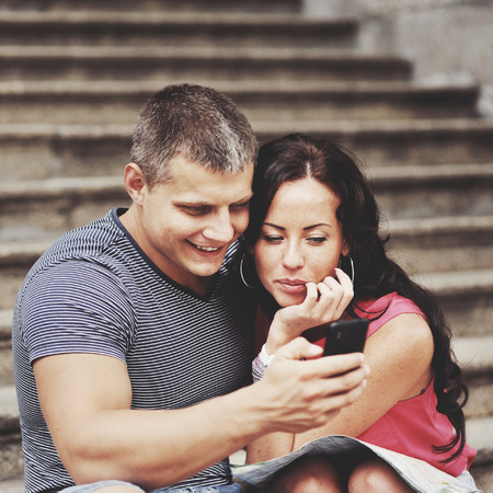 hetero: Young couple travel and making selfy together, having vacation.