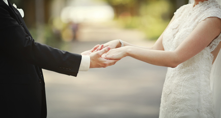 marry: marry me today and everyday, newly wed couple Stock Photo
