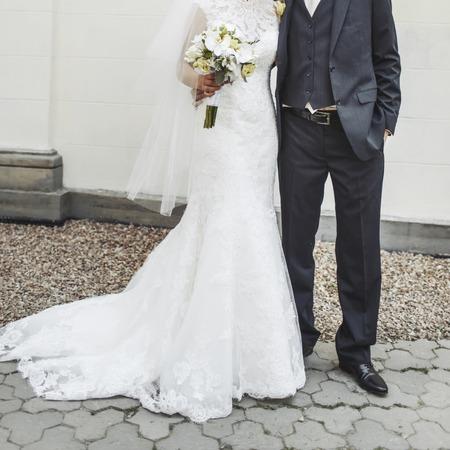 happy wedding: Happy bride and groom together. Wedding photo. Stock Photo