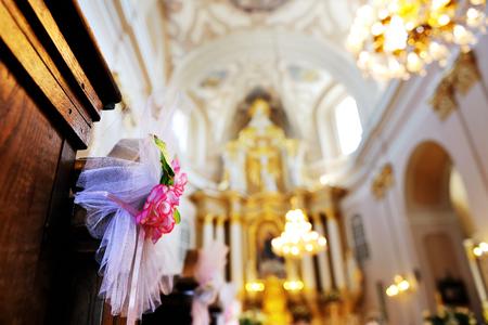 church flower: flower wedding decoration in a church