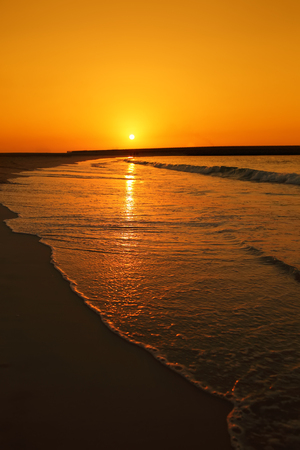 warm weather: Sunset over Jumeira beach in Dubai. Warm weather. Stock Photo