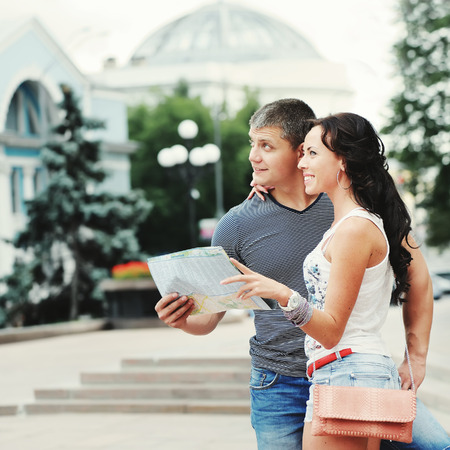vocation: young couple of travelers in Europe spending their vocation Stock Photo