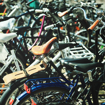 active lifestyle: Bicycles in line. Active lifestyle Stock Photo