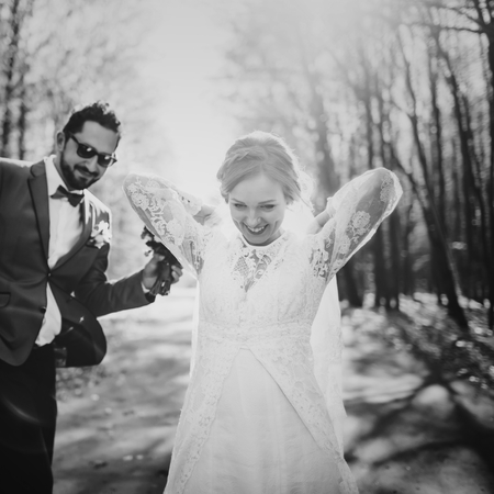 fiance: Young wedding couple in love together.  Newlyweds in black and white.