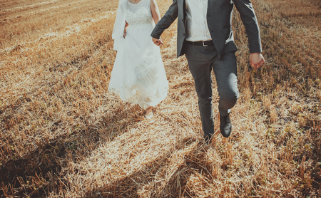 fiance: Wedding couple at summer field. Newlyweds spending happy day.