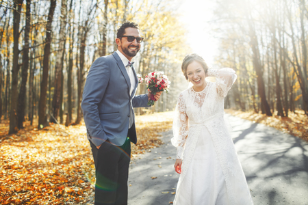 fiance: Wedding as a source of satisfaction. Groom and bride together. Bridal couple on wedding day. Stock Photo