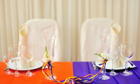 caterers: decorated wedding table Stock Photo