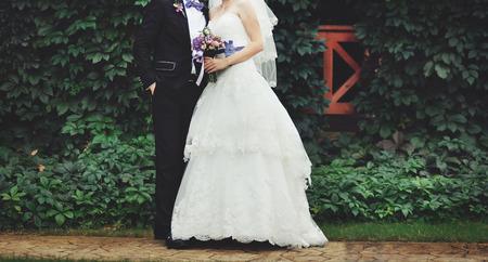 happy wedding: Wedding couple outside.