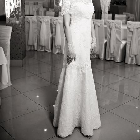 fiance: Happy bride posing. Wedding portrait of beautiful fiance in black and white.