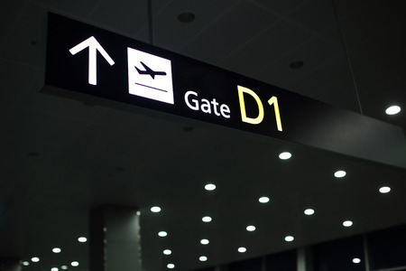 hall monitors: Airport sign. Gate D Stock Photo