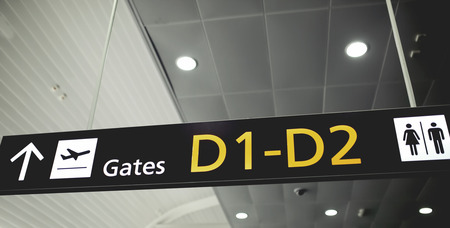 airport sign: Airport sign. Gate D Stock Photo