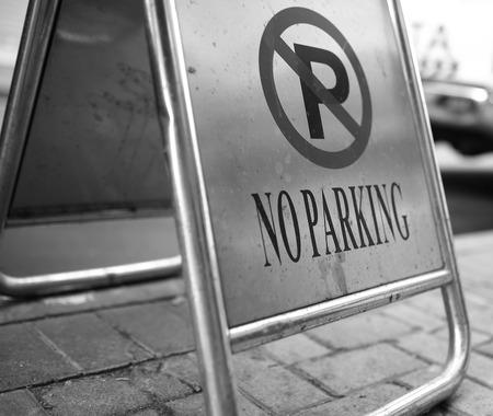 deny: no parking street sign Stock Photo