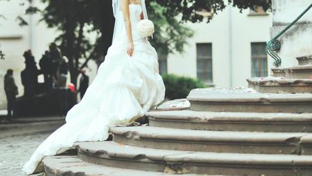 bridal makeup: Young caucasian bride outside,