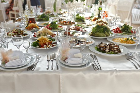 served: Meals served on wedding party table
