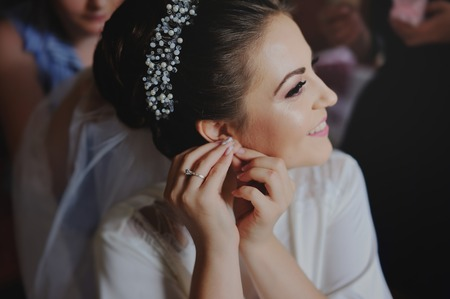 getting: Beautiful bride getting ready for wedding