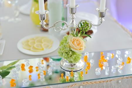 wedding banquet in restaurant, reception venue tables Stock Photo