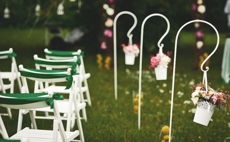 Wedding decoration in  garden. Everything is ready for groom and bride. Stock Photo