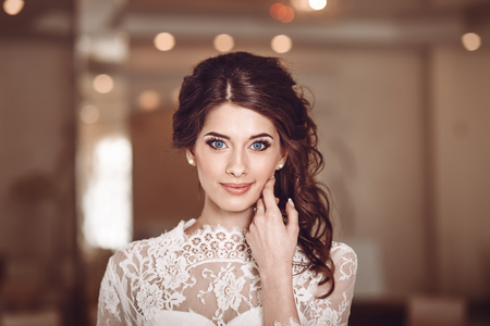 wedding portrait of a young beautiful blue eyed bride Stock Photo