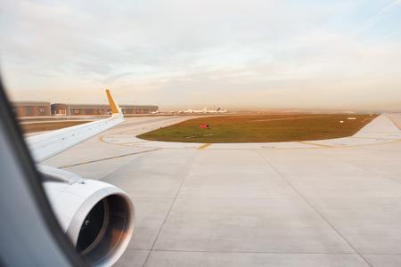 landing of an airplane in international airport