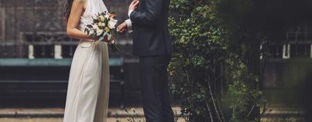 happy wedding, bride and groom together Archivio Fotografico