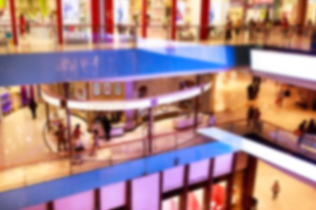 blurred image of Dubai Mall - biggest shopping center