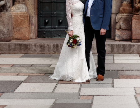bridal couple celebrate happy wedding, bride and groom together