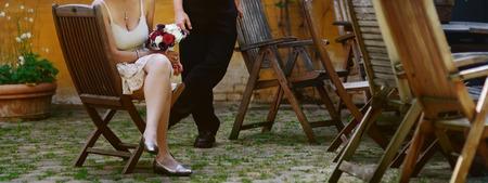 happy wedding, bride and groom together holding hands
