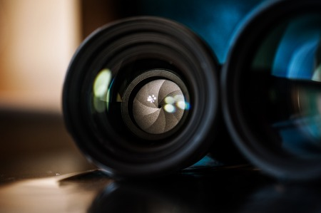 Camera lense closeup. Photography equipment