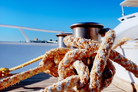 Rope tied up for safety on a boat Stock Photo