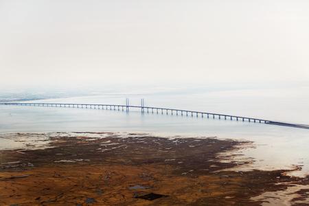 Oresund bridge between Denmark and Sweden, aircraft view