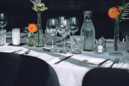 wedding table in a restaurant Stock Photo