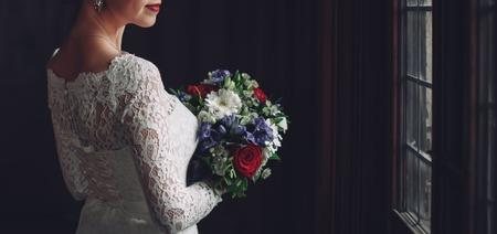 wedding bride holding a bouquet Stock Photo