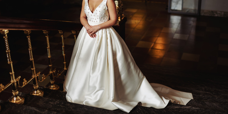 beautiful bride in stylish wedding dress