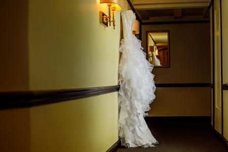 beautiful stylish wedding dress in a hotel
