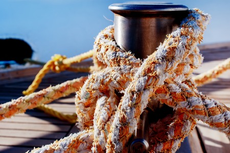 Rope tied up for safety on a boat 免版税图像