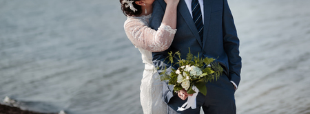 happy wedding, bride and groom together hugging Stock Photo