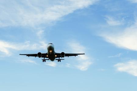 business jet landing in airport