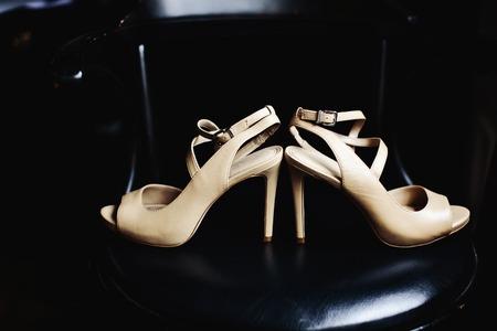 Stylish bridal shoes ready for wedding