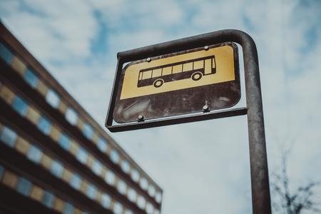 Bus sign transportation symbol in Denmark