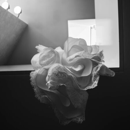 Beautiful wedding dress. Luxury cut and fabric 스톡 콘텐츠
