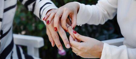 Bridal couple exchanging wedding rings.