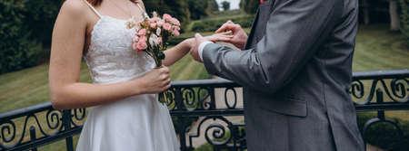 Classic european wedding ceremony of a bridal couple. Reklamní fotografie