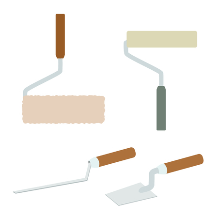 filler: House repairs tools. Joint filler, paint roller, square trowel, wallpaper roller. Tools for repair. Tools for painting, wall papers, joint filling. House repairing.