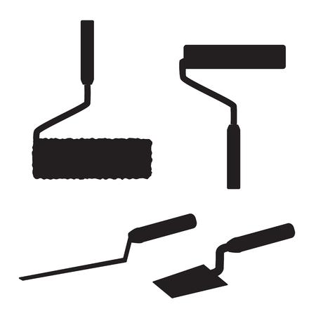artisan: House repairs tools. Joint filler, paint roller, square trowel, wallpaper roller. Tools for repair. Tools for painting, wall papers, joint filling. House repairing.