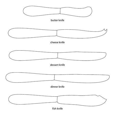 butter knife: Kitchenware. Set of knives with names butter knife, cheese knife, dessert knife, dinner knife, fish knife . Different kinds of knives, names. Outlined knives with names.