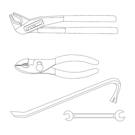 crowbar: House repairs tools. Crowbar, groove joint pliers, open-ended spanner, slip joint pliers, house repairing. Tools for repairing crowbar, groove joint pliers, open-ended spanner, slip joint pliers.