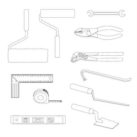 House repairs tools. Crowbar, groove joint pliers, joint filler, open-ended spanner, paint roller, setsquare, slip joint pliers, spirit level, square trowel, tape measure, wallpaper roller outline