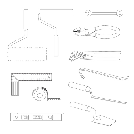 square tape: House repairs tools. Crowbar, groove joint pliers, joint filler, open-ended spanner, paint roller, setsquare, slip joint pliers, spirit level, square trowel, tape measure, wallpaper roller outline Stock Photo